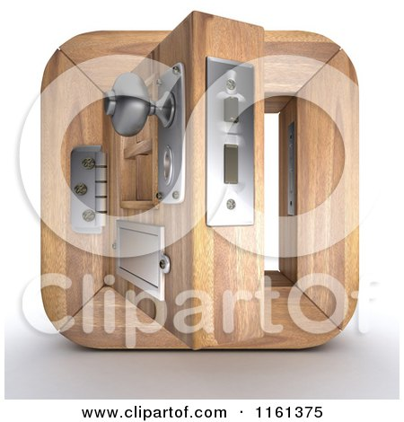 Clipart of a 3d Open Wood Door Icon - Royalty Free CGI Illustration by KJ Pargeter