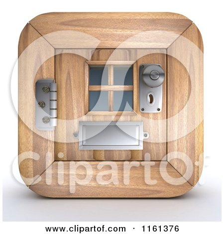 Clipart of a 3d Wood Door Icon - Royalty Free CGI Illustration by KJ Pargeter