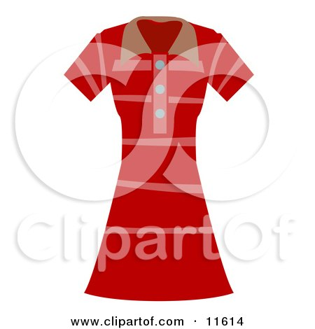 Woman's Pink and Red Striped Dress Clipart Picture by AtStockIllustration