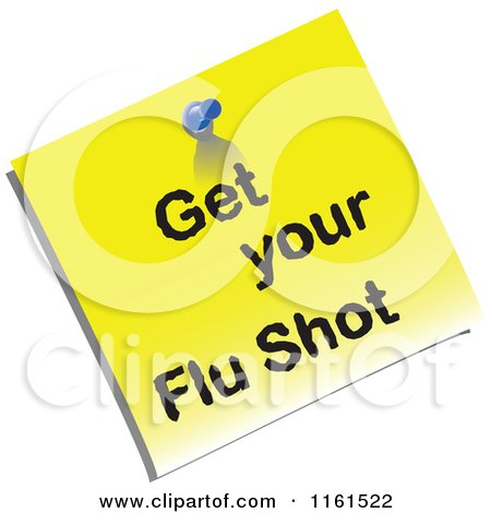 Clipart of a Yellow Get Your Flu Shot Memo - Royalty Free Vector Illustration by tdoes
