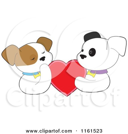 Cartoon of a Puppy Couple Holding a Red Valentine Heart - Royalty Free Vector Clipart by Maria Bell