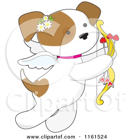 Cartoon of a Cute Valentine Cupid Puppy with Heart Arrows - Royalty Free Vector Clipart by Maria Bell