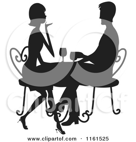 Clipart of a Silhouetted Couple Drinking Wine at a Table - Royalty Free Vector Illustration by Maria Bell