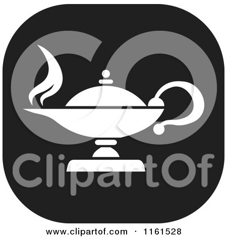 Clipart of a Black and White Knowledge Oil Lamp Icon - Royalty Free Vector Illustration by Johnny Sajem