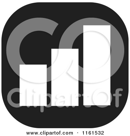 Clipart of a Black and White Bar Graph Icon - Royalty Free Vector Illustration by Johnny Sajem