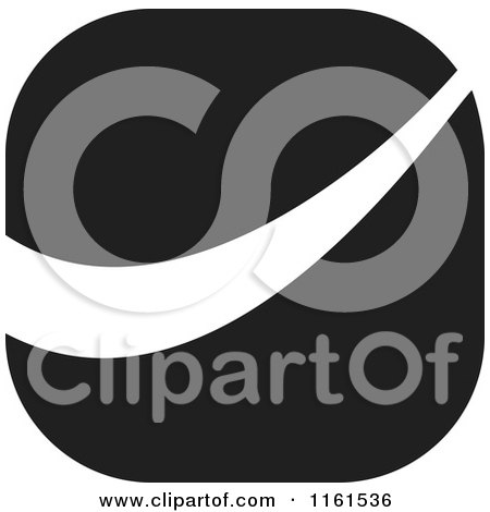 Clipart of a Black and White Swoosh Icon - Royalty Free Vector Illustration by Johnny Sajem