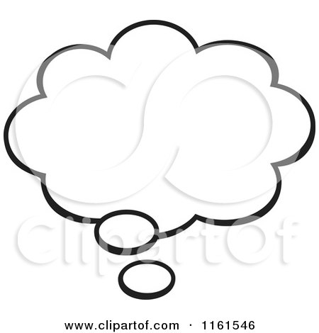 Cartoon of a Black and White Thought Balloon - Royalty Free Vector Clipart by Johnny Sajem