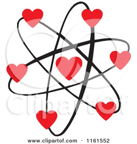 Cartoon of an Atomic Love Atom with Red Hearts - Royalty Free Vector Clipart by Johnny Sajem