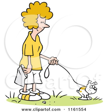Cartoon of a Happy Blond Woman Waiting to Pick up Her Dogs Poop - Royalty Free Vector Clipart by Johnny Sajem
