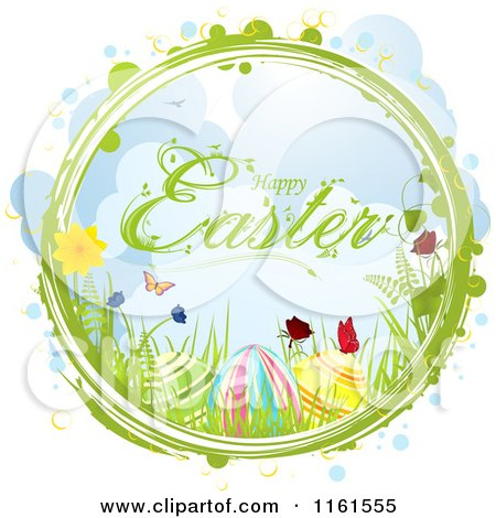 Clipart of a Happy Easter Greeting with Eggs Flowers and Butterflies in a Ring with Bubbles - Royalty Free Vector Illustration by elaineitalia
