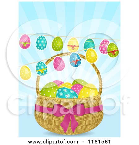 Clipart of Easter Eggs Suspended over a Basket over Blue Rays - Royalty Free Vector Illustration by elaineitalia