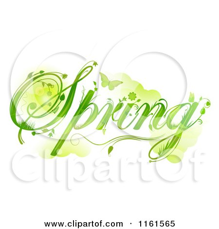 Clipart of Green Floral Spring Text with a Butterfly - Royalty Free Vector Illustration by elaineitalia