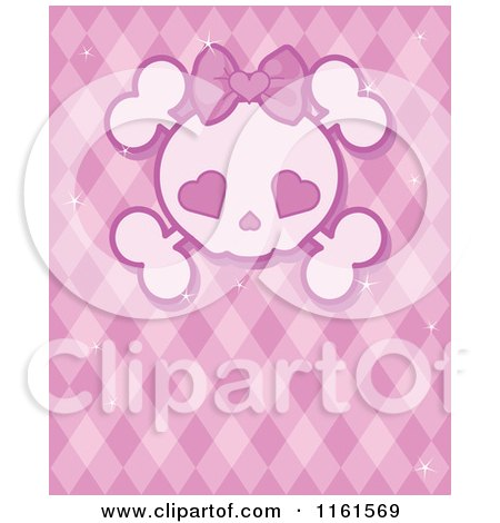 Cartoon of a Girly Skull with Heart Eyes over Pink - Royalty Free Vector Clipart by Pushkin