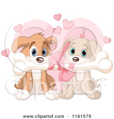 Cartoon of a Cute Puppy Couple Sharing a Valentines Day Bone - Royalty Free Vector Clipart by Pushkin