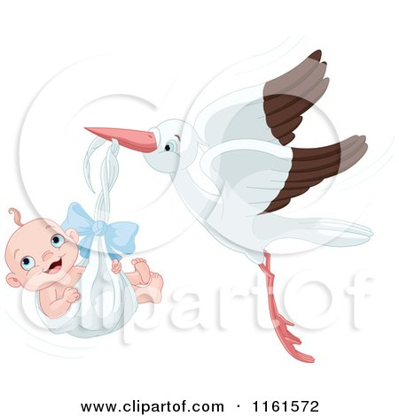Cartoon of a Happy Baby Boy in a Stork Bundle - Royalty Free Vector Clipart by Pushkin