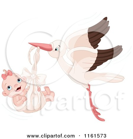 Cartoon of a Happy Baby Girl in a Stork Bundle - Royalty Free Vector Clipart by Pushkin