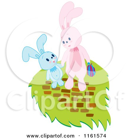Cartoon of Easter Bunnies Holding Hands - Royalty Free Vector Clipart by Cherie Reve