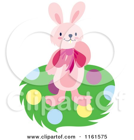 Cartoon of a Pink Easter Bunny on Polka Dots - Royalty Free Vector Clipart by Cherie Reve