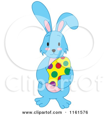 Cartoon of a Blue Easter Bunny Holding a Polka Dot Egg - Royalty Free Vector Clipart by Cherie Reve