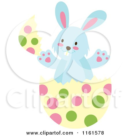 Cartoon of a Blue Easter Bunny Playing in a Polka Dot Egg Shell 2 - Royalty Free Vector Clipart by Cherie Reve