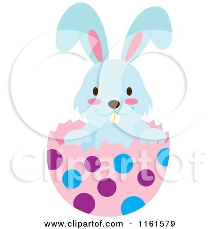 Cartoon of a Blue Easter Bunny Playing in a Polka Dot Egg Shell 3 - Royalty Free Vector Clipart by Cherie Reve