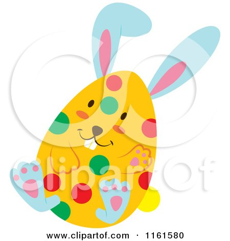 Cartoon of a Blue Easter Bunny Playing in a Polka Dot Egg Shell 4 - Royalty Free Vector Clipart by Cherie Reve