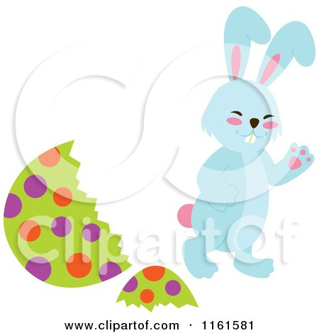 Cartoon of a Blue Easter Bunny Waving by a Polka Dot Egg Shell - Royalty Free Vector Clipart by Cherie Reve