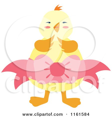 Cartoon of a Cute Chick Wearing a Yellow Egg with a Bow - Royalty Free Vector Clipart by Cherie Reve