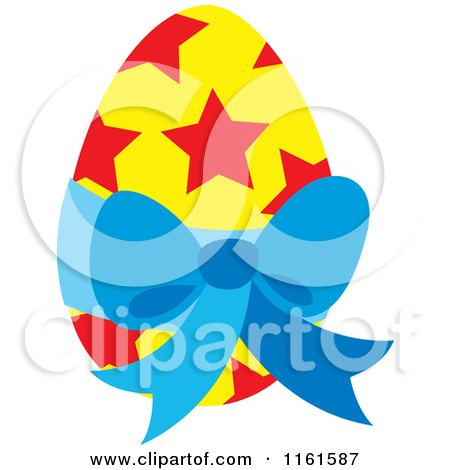 Cartoon of a Yellow Easter Egg with Red Stars and a Blue Bow - Royalty Free Vector Clipart by Cherie Reve