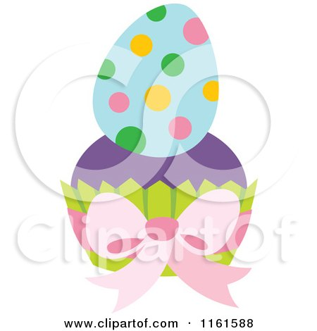 Cartoon of a Polka Dot Easter Egg on a Cupcake - Royalty Free Vector Clipart by Cherie Reve