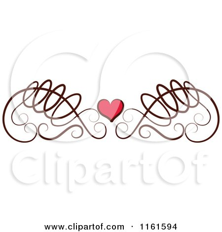 Clipart of a Decorative Swirl and Heart Design Element - Royalty Free Vector Illustration by Cherie Reve