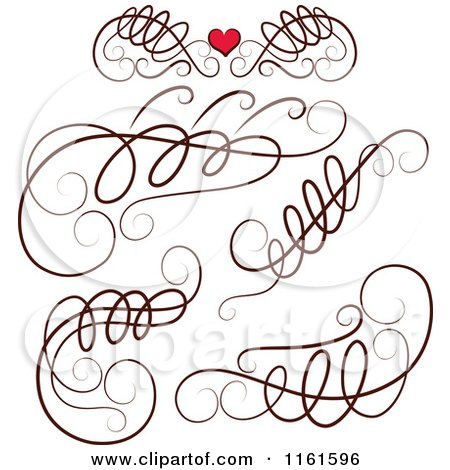 Clipart of Decorative Swirl Design Elements and One with a Red Heart - Royalty Free Vector Illustration by Cherie Reve