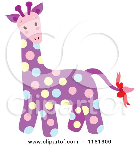 Cartoon of a Cute Purple Polka Dot Giraffe - Royalty Free Vector Clipart by Cherie Reve