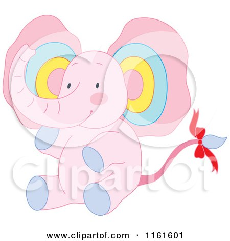 Cartoon of a Cute Sitting Pink Elephant with Colorful Ears - Royalty Free Vector Clipart by Cherie Reve