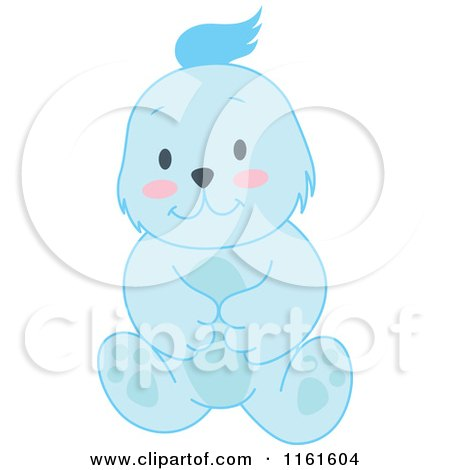 Cartoon of a Cute Sitting Blue Bear - Royalty Free Vector Clipart by Cherie Reve