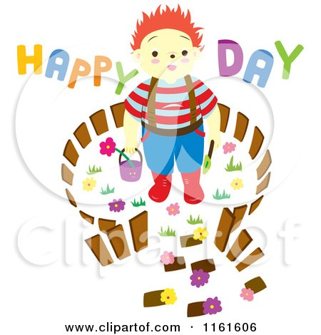 Cartoon of a Boy in a Carden with Happy Day Text - Royalty Free Vector Clipart by Cherie Reve
