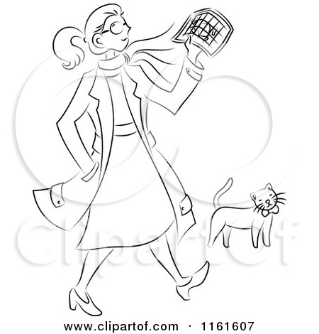 Cartoon of a Black and White Traveling Woman Walking by a Cat - Royalty Free Vector Clipart by Cherie Reve