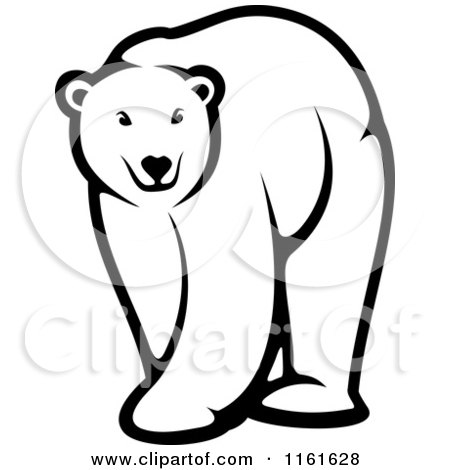 Clipart of a Black and White Walking Polar Bear - Royalty Free Vector Illustration by Vector Tradition SM