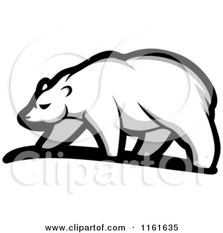 Clipart of a Walking Polar Bear in Profile 4 - Royalty Free Vector Illustration by Vector Tradition SM