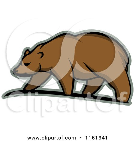 Clipart of a Walking Bear in Profile 2 - Royalty Free Vector Illustration by Vector Tradition SM