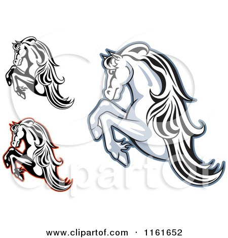 Clipart of Rearing Horses - Royalty Free Vector Illustration by Vector Tradition SM