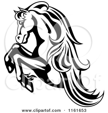 Clipart of a Black and White Rearing Horse - Royalty Free Vector Illustration by Vector Tradition SM