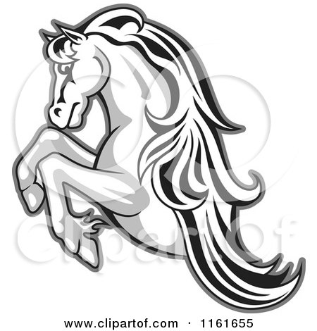 Clipart of a Black and White Rearing Horse Outlined in Gray - Royalty Free Vector Illustration by Vector Tradition SM