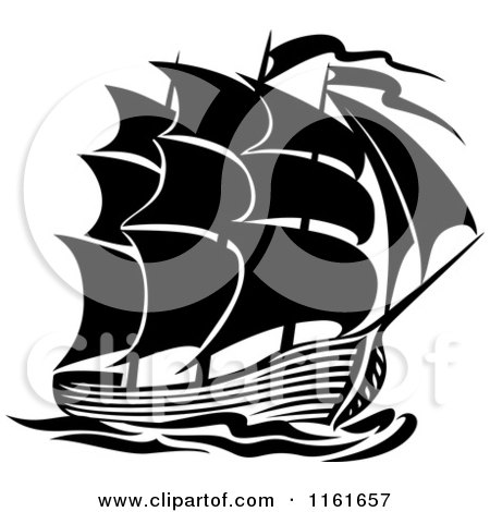 Clipart of a Black and White Galleon Ship - Royalty Free Vector Illustration by Vector Tradition SM