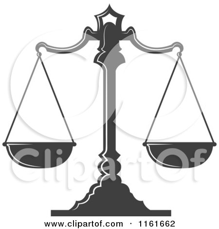 Clipart of Dark Gray Scales of Justice 3 - Royalty Free Vector Illustration by Vector Tradition SM