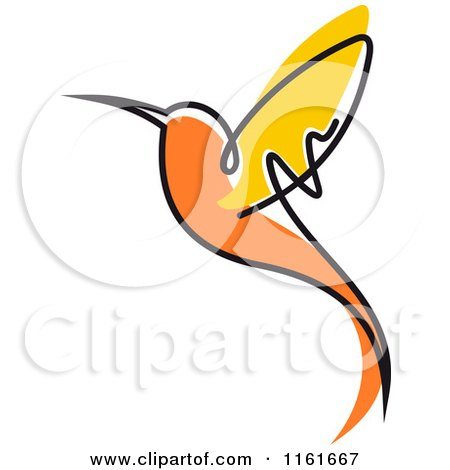 Clipart of a Simple Orange Hummingbird 2 - Royalty Free Vector Illustration by Vector Tradition SM