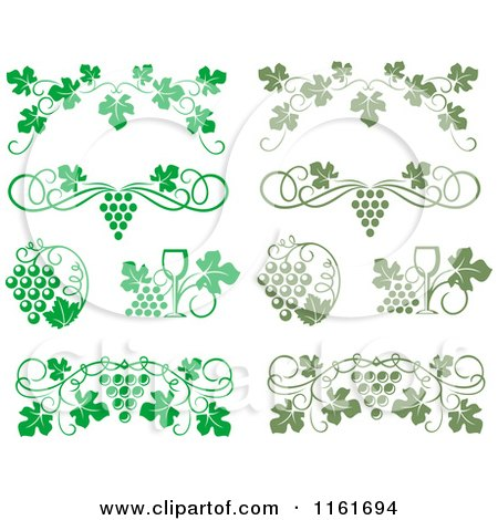 Clipart of Bright and Olive Green Wine Grapes and Vines - Royalty Free Vector Illustration by Vector Tradition SM