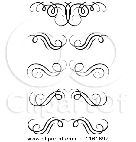 Clipart of Black and White Swirl Monogram Design Elements - Royalty Free Vector Illustration by Vector Tradition SM