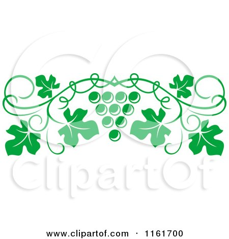 Clipart of a Green Grape Vine and Fruit Page Border - Royalty Free Vector Illustration by Vector Tradition SM