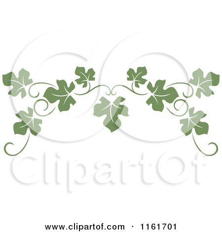 Clipart of an Olive Green Grape Vine Page Border - Royalty Free Vector Illustration by Vector Tradition SM